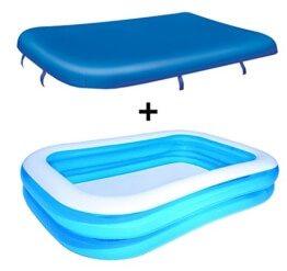Das Produktbild zeigt den blauen rechteckigen Pool auf weißem Hintergrund. Darüber schwebt die Abdeckplane, welche dunkelblau ist.